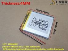 Bateria de Iões Polímero para Mp3 3.7 V 1800 Mah 405055 Células Li-po de Lítio Recarregável Mp4 Mp5 Gps Psp Móvel Bluetooth
