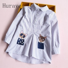 Hurave Baby Girls Autumn Blouses Girls Long Sleeve Cat Shirts Print Kids Striped Embroidery Shirts Girls Blouses