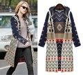 Women Fashion Autumn Winter Bohemian Hooded Long Knitting coat Long printed Sweater Cardigan Jacket 63