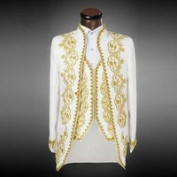 HB069 Для мужчин тонкий белый Нарядные Костюмы для свадьбы комплект страстный певец хост Вечеринка одежда этап одежда вышитые торжественное ...