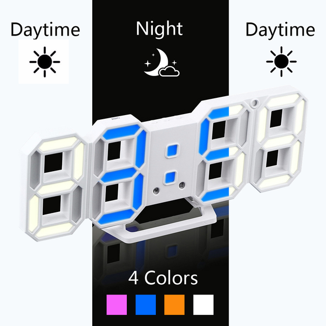 Newest Color Changeable LED Wall Clock 3D Modern Digital Desktop Alarm Clock Home Living Room Office Table Desk Night Light