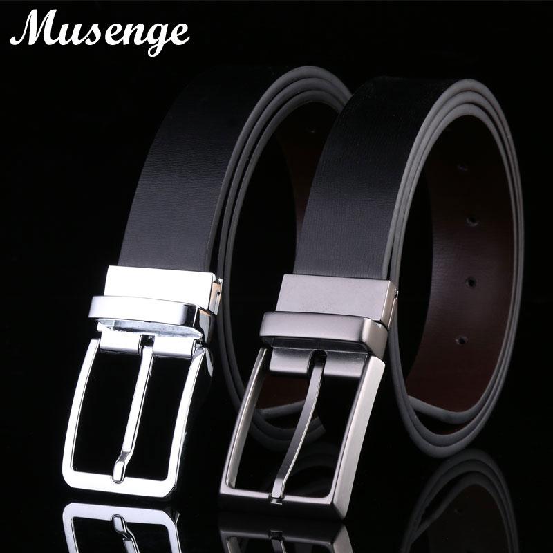 MUSENGE reverzibilni usnjeni pasovi oblikovalskih pasov moški visoko kakovostni ceinture Homme kavbojski kavbojke Pin sponka Cinto Cinturones Hombre