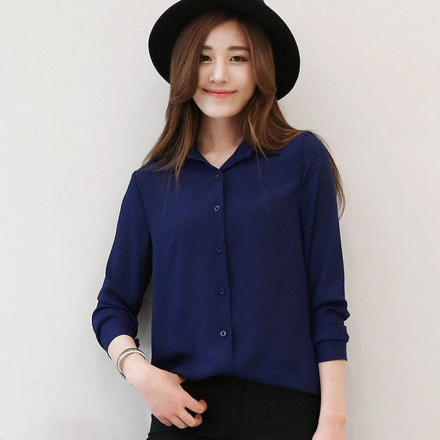 Chiffon Blouse 2016 Spring Women Summer Fashion Elegant OL Casual Style Shirts Long Sleeve Shirt Female Office Plus Size Tops