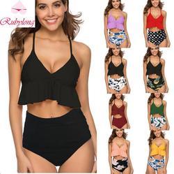 8c87846f0 Rubylong 2019 Cintura Alta Bikini Set Feminino Push Up Cinta Swimsuit  Mulheres Bikini Sexy Swimwear Retro