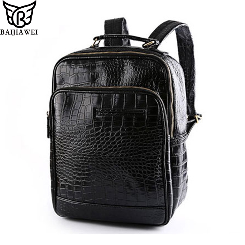 ФОТО BAIJIAWEI Fashion Men's Oil Wax Leather Backpacks Western College Style Bag For Men Large Travel Mochila Zip Daily Backpack