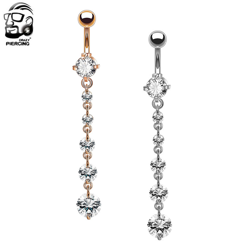Romantic Rose Gold Belly Piercing Jewelry 14g Surgical Steel Belly Button Rings Women Body Piercing Navel Bar Christmas Gifts