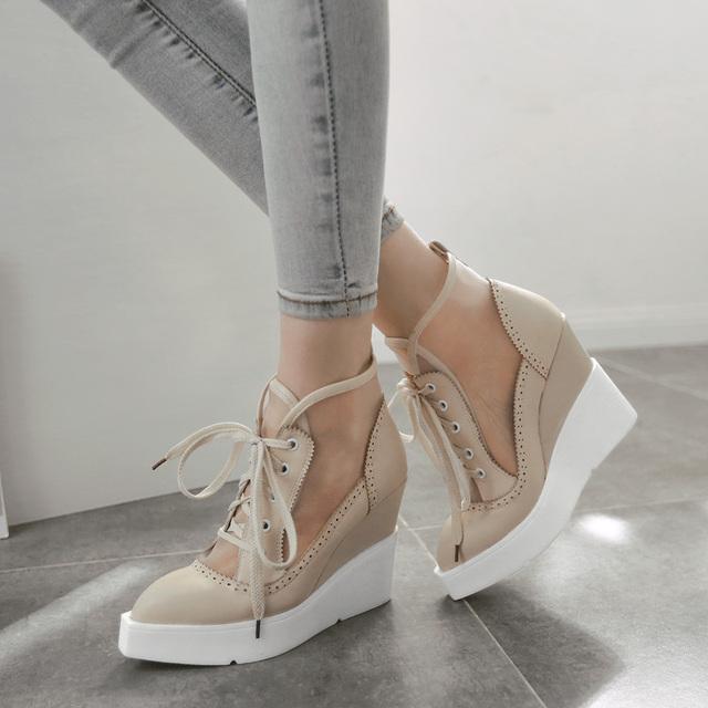 Alta Sandálias de Cunha Ata Acima Sandálias Cut-out Malha Sandálias Plataforma Do Vintage Elegante Apontou Toe Sapatos de Sola Grossa Queda sapatos 2016