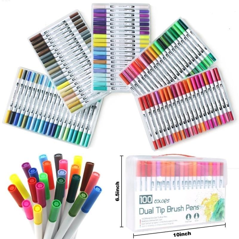 100 PCS Colors Dual Tip Brush Pen FineLiner 0.4mm Brush 1-2mm Drawing Painting Watercolor Art Marker Pens for Coloring Manga100 PCS Colors Dual Tip Brush Pen FineLiner 0.4mm Brush 1-2mm Drawing Painting Watercolor Art Marker Pens for Coloring Manga
