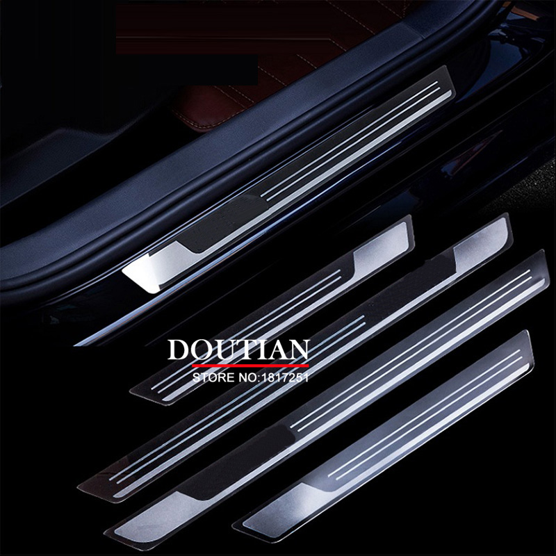 For 2011 2017 Jetta MK6 MK7 Stainless Steel Scuff Plate Door Sill Protector Sticker Car Styling Accessories for led stainless steel door sill scuff plate for volkswagen vw jetta mk6 2011 2013 car accessories car styling for