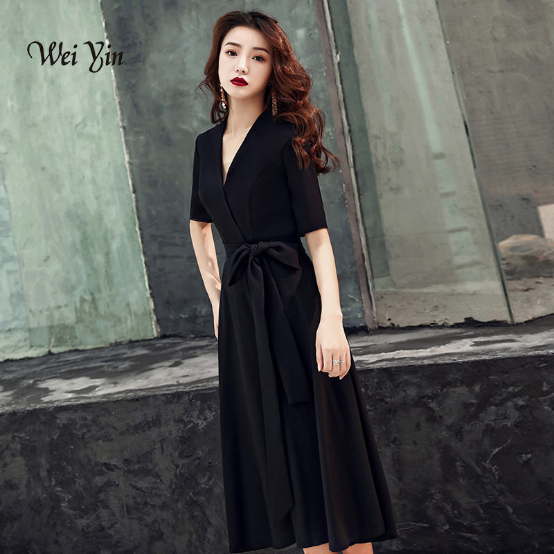 weiyin 2019 Black Women Sexy Evening Dresses V-Neck Short Sleeve Casual Midi Party Dress Robe de Soiree WY1349