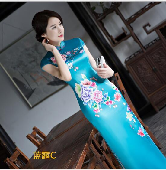 New Arrival Blue Chinese Women's Silk Rayou Halter Cheongsam Mini Qipao Dress Peafowl Size S M L XL XXL Free Shipping