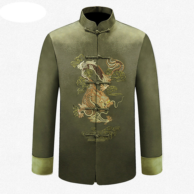 Inexperienced Model Chinese language Conventional Males's Embroider Dragon Kung Fu Jackets Coats Outerwear M L Xl Xxl 3Xl Mtj201506