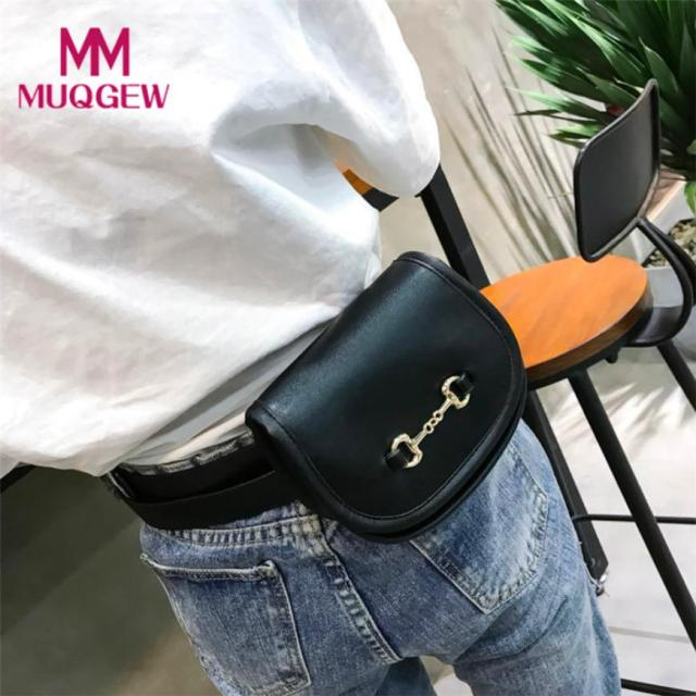 2018 Womens Bags Leather Pure Color Flip Cover Chest Bag Shoulder Bag Sac Taille Ceinture Femmes Women Fanny Pack