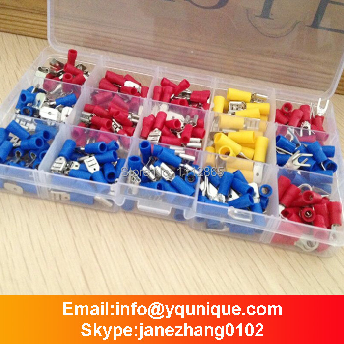 Free Shipping 260Pcs Assorted Crimp Terminals Set Insulated Terminals Electrical Crimp Connector Spade Ring Fork Assortment Kit 1000pcs electrical wire connector insulated crimp terminals kit spade assorted set fork ring assorted set with box