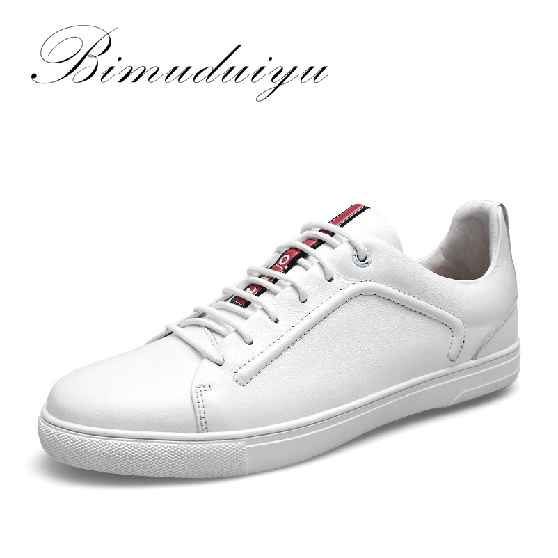 цена на BIMUDUIYU New Four Seasons Men's Lace-up Casual Shoes High-quality Genuine leather Shoes Fashion Breathable Flat Shoes Sneakers