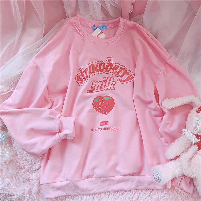 Harajuku Kawaii fraise lettre sweat à capuche femmes Kpop Style rose Sweatshirts Plus velours sweat écolière Tumblr
