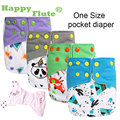 Genuino! feliz Flauta OS bolsillo bebé pañal de tela de tela de gamuza con dos bolsillos y doble broche de presión