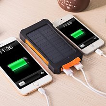 Solar Power Bank Dual USB 10000mAh External Battery Portable Charger Bateria Pack With LED Light for Sony  L36H  L39H XL39H