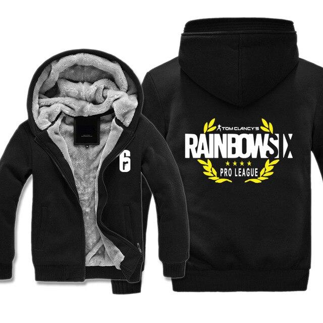 High-quality Winter Rainbow Six Siege Hoodie Men's Winter Casual Super Warm Thicken Fleece Zip Up Sweatshirt Coat plus size 5XL 2