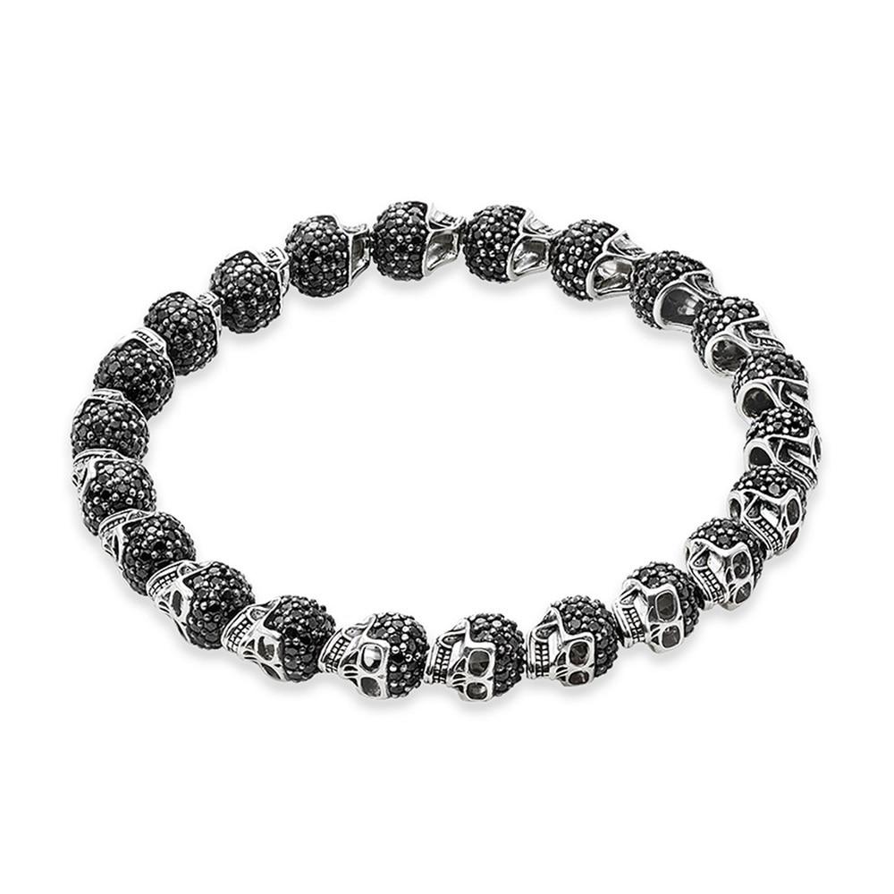 Vintage Black Skulls Beads Elastic Bracelets For Women Men Boy,2019 New Punk Rebel Karma Fashion Jewelry Gift Heart Gift Bijoux