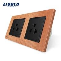 Livolo EU Standard Power Socket Cherry Wood Panel AC 110 250V 16A Wall Power US Socket