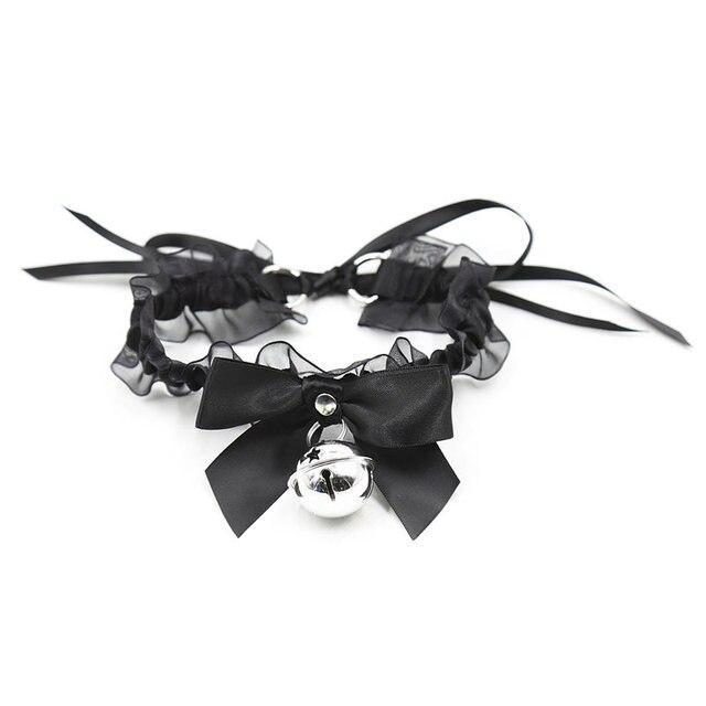 סקסי הלבשה תחתונה יפה קוספליי חתול צווארון BDSM Bondage משענות תחרה צווארון עם פעמון פטיש עבדים מין אביזרי עבור נשים