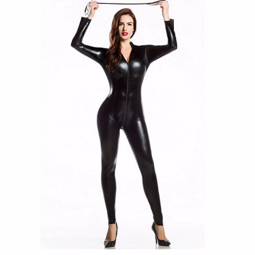3XL Sexy Lingerie Latex Pvc Dress Jumpsuit Zentai Costume Women Black Catsuit Pole Dance Clothes Clubwear Bodysuit Game Uniforms