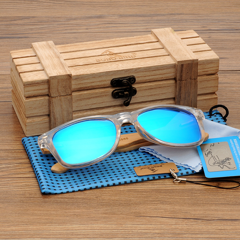 BOBO BIRD Wood Bamboo Polarized Sunglasses Clear Color Women's Glasses  With UV 400 oculos de sol feminino C-CG008 4
