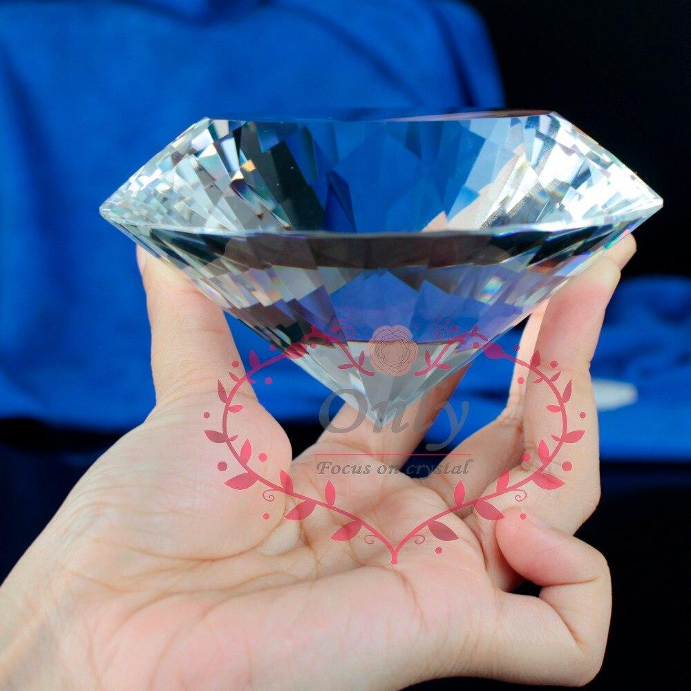 Doprava zdarma Velká velikost 100 mm 4 palce lesklé křišťálové sklo Facet Diamond Paperweight domácí kancelář stolní dekor