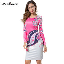 MOQUEEN Vintage Floral Long Sleeve Sheath Dress