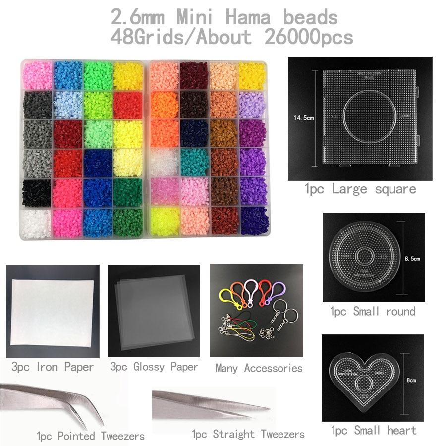48 couleur 2.6mm Perler Perles 26000 pcs avec panneau perforé outil Hama Perles ensemble pour Enfants Éducatifs puzzle BRICOLAGE jouets Fusible Bea