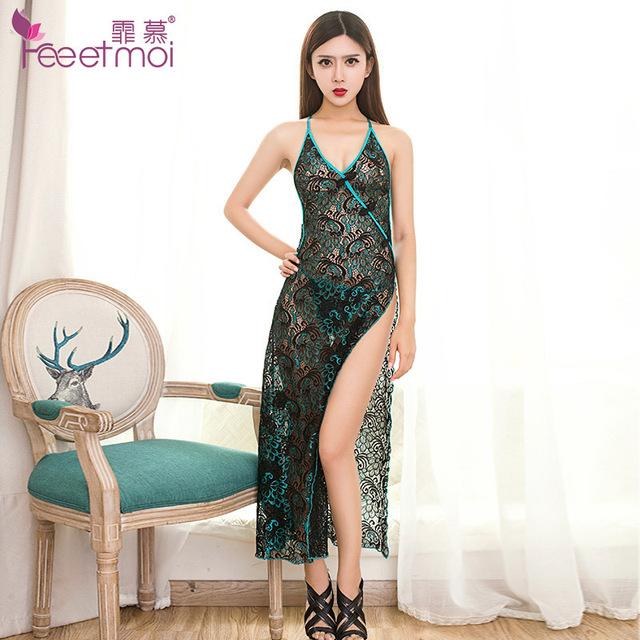 2017 Nueva Ropa Interior Atractiva Erótica Camisones Pijamas para Mujeres Cheongsam Vestido de Detalle Estilo Plumas de Pavo Real Más El Tamaño