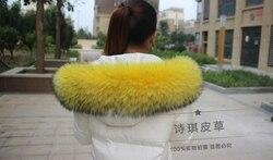 Colorful Genuine Raccoon Fur Detachable Collar Scarfs Fashion Coat Sweater  Luxury Raccoon Fur Collar TKC006-yellow