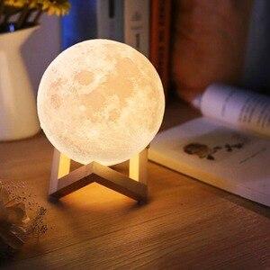 Image 1 - Dropship usb 3d 전등 8 cm 10 cm 달 램프 levitating 밤 빛 led 색깔 변화 접촉 점화 침실 램프