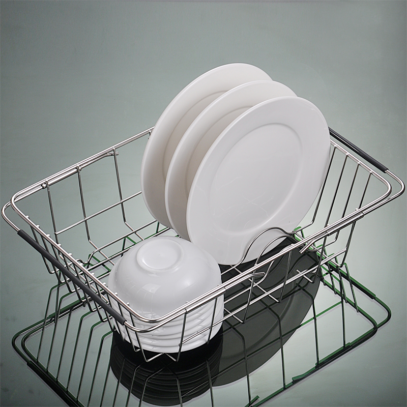 Pull Retractable Drain Basket Rack Stainless Steel Sink Dish Rack Vegetables Basket Kitchen Sink Accessories