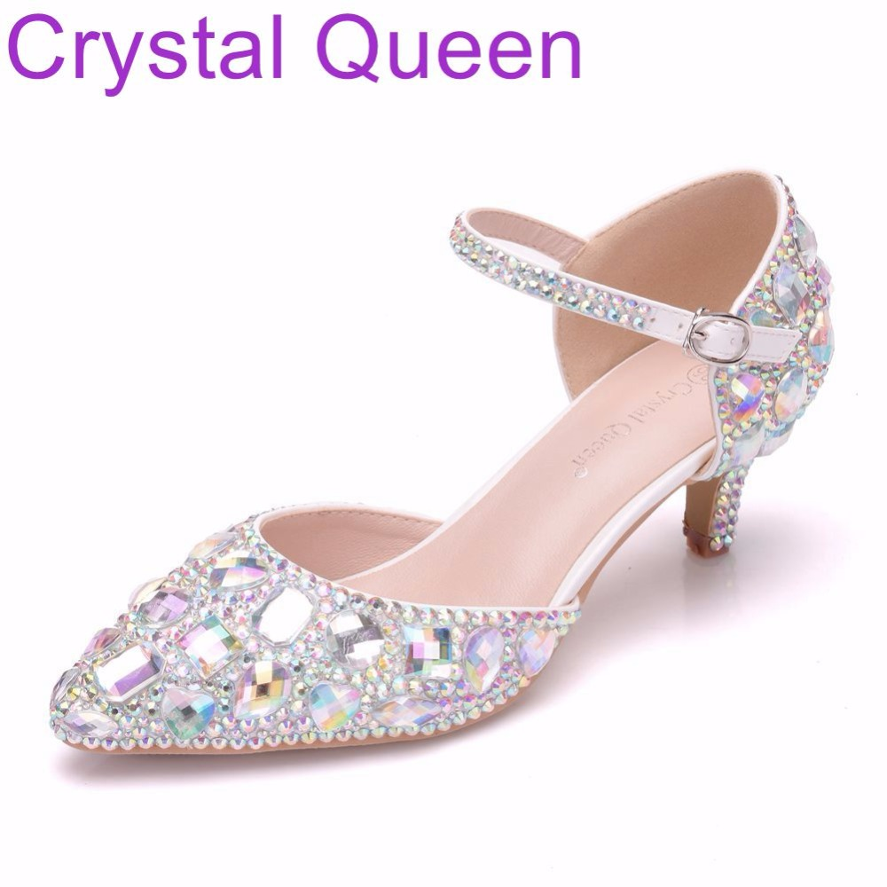 Crystal Queen 5cm Mary Jane Shoes Thin Heels Pointed Toe