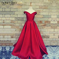 Honey qiao simples vestidos de baile vermelho escuro com bolsos 2017 V Pescoço Fora Do Ombro Do Cetim de Borgonha Vestidos de Noite Reais imagem