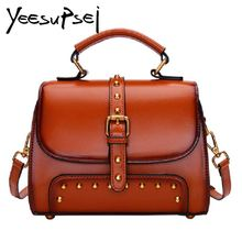 YeeSupSei 2018 New Women Vintage Handbag Genuine Leather Totes Female Doctor Classic Shoulder Bags Zipper Shopping