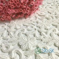 5 stoczni/dużo Hafty Tkaniny Llace Biały 7 Płatki Kwiatów Koronki Przycinanie Szmatką Decor Craft DIY Akcesoria Materiały Do Szycia A2