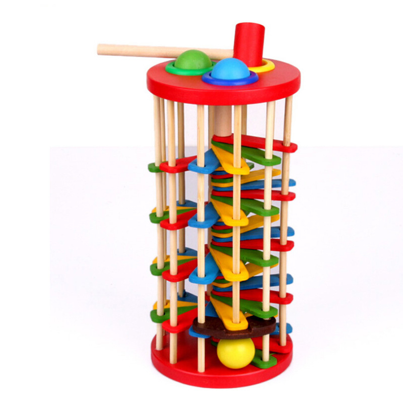 Montessori Education Baby Wood Knocking Ball Ladder Pound and Roll Tower Kids puzzle Early Educational Wooden Toys Set MZ23 baby wood building blocks chopping wooden block children education montessori tower set baby toys