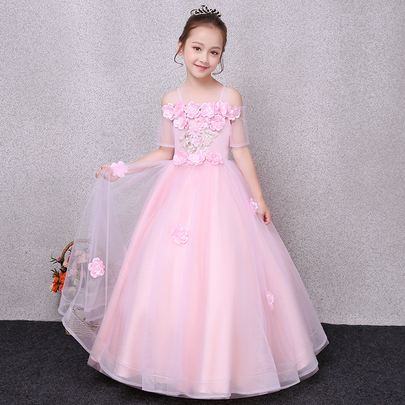2018 New Girl Elegant Princess Tutu Mesh Dress For Children Tulle Flowers Pink Kids Ball Gown Girl Wedding Birthday Party Dress 2018 spring new children girls elegant fashion pink color flowers princess dress for birthday wedding party baby ball gown dress