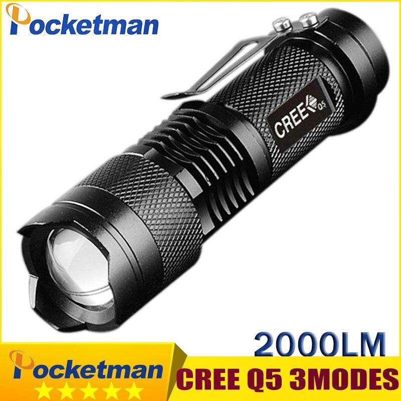 Galleria fotografica Mini Torche 2000 Lumens Flashlight Led Linterna CREE Q5 LED Gladiator Flashlight 3 Modes Zoomable LED Torch Penlight z54