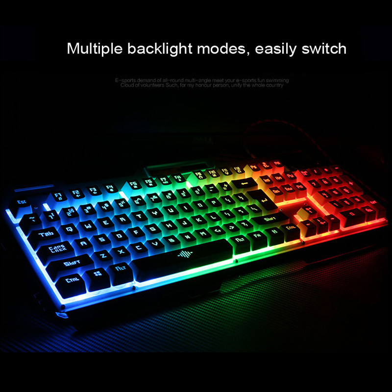 Rainbow Yellow LED Backlight USB Wired Pro Gaming Keyboard Gamer Keyboard 6 Buttons 3200 DPI Pro Gaming Mouse Gamer Mice in Keyboard Mouse Combos from Computer Office
