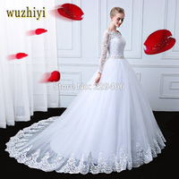 wuzhiyi Vestidos de Noiva Long Sleeves 2017 wedding dress With Crystal Lace Bridal Gowns Custom Made Lace up mariage robe de
