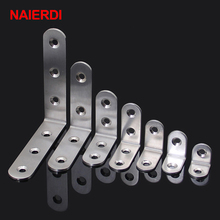10PCS NAIERDI Angle Stainless Steel Corner Brackets Fasteners Protector Seven Size Corner Stand Supporting Furniture Hardware 2pcs stainless steel corner brackets right angle shelf bracket for furniture corner protector furniture hardware 125x125x3mm