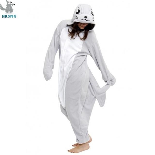 HKSNG Flannel Animal Adult Grey Seal Pajamas Footed Sea Dog Kigurumi Onesies Cosplay Costumes Unisex Sleepwear Christmas Gift