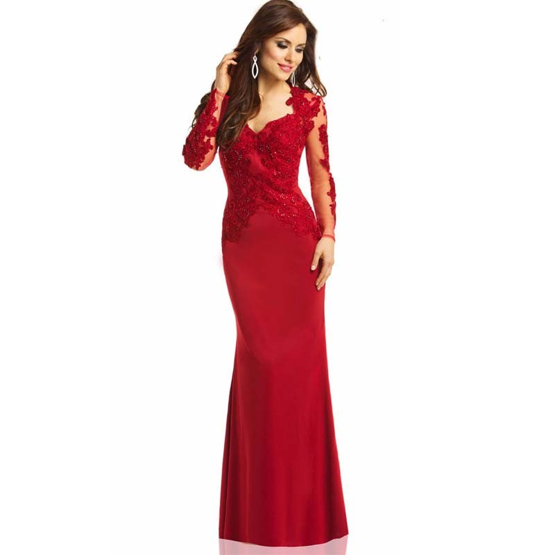 Abiye-Gece-Elbisesi-Red-Long-Sleeves-Sheer-Lace-Appliqued-Prom-Gowns2015Elegant-Mermaid-Evening-Dress-Floor-Length