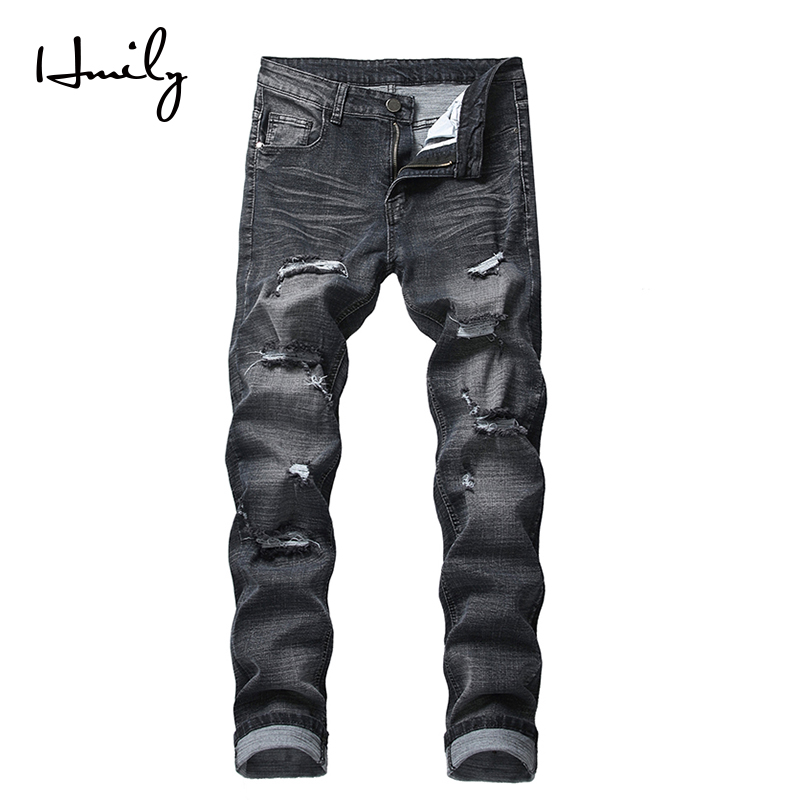 HMILY Mens Skinny Jeans Men Slim Fit Hole Biker Ripped Denim Hip Hop Motorcycle Rock Rap Jeans Big Size 42 Pants
