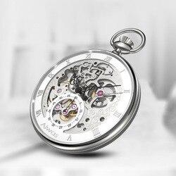 Retro Holle Mechanische Zakhorloge mannen Mode Wandplaten Romeinse Schaal Wijzerplaat Aangepaste Geschenken Aangepaste Horloge Relogio Masculino