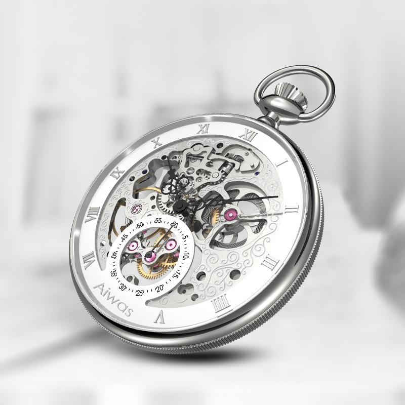 Retro Hollow Mechanical Pocket Watch Men's Fashion Wall Charts Roman Scale Dial Customized Gifts Custom Watch Relogio Masculino